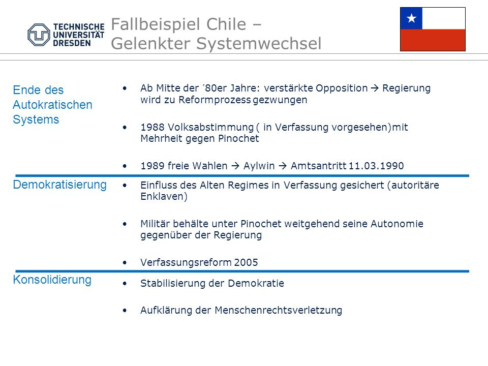 Fallbeispiel Chile – Gelenkter Systemwechsel