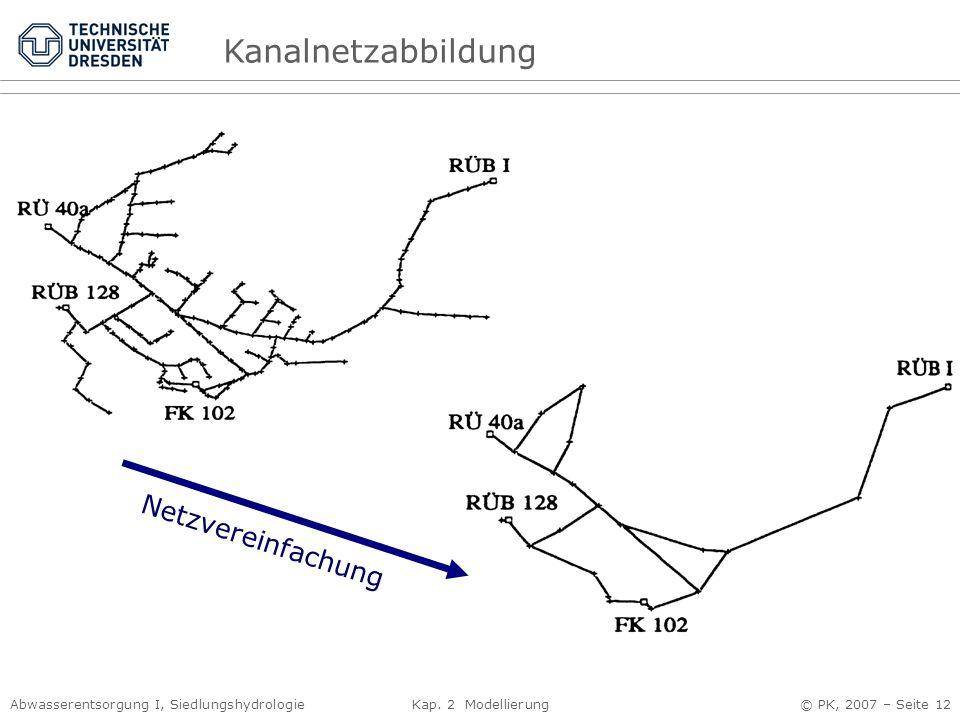 Kanalnetzabbildung Netzvereinfachung