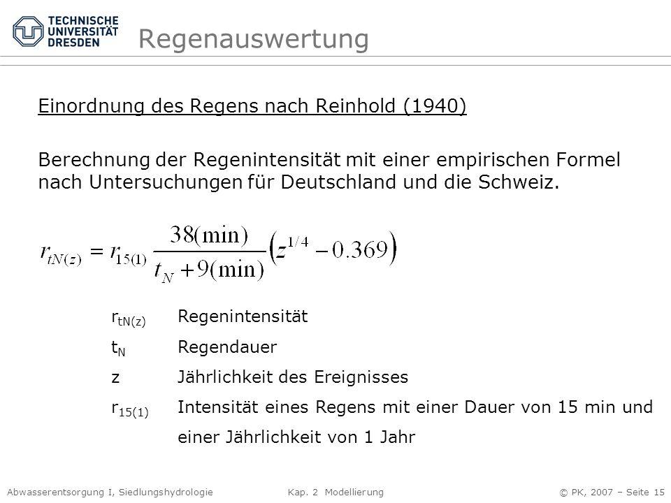 Regenauswertung Einordnung des Regens nach Reinhold (1940)