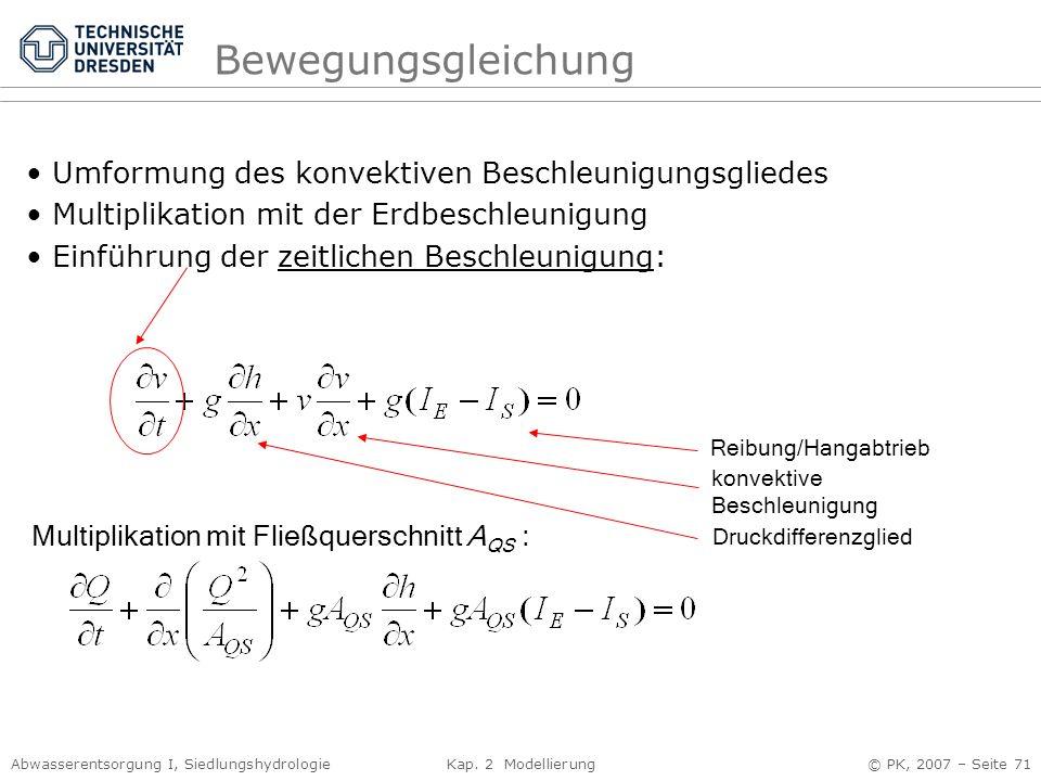 Bewegungsgleichung Umformung des konvektiven Beschleunigungsgliedes