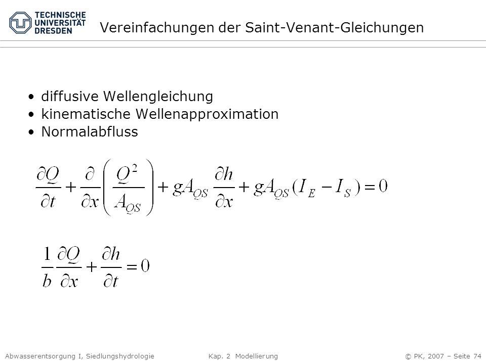 Vereinfachungen der Saint-Venant-Gleichungen