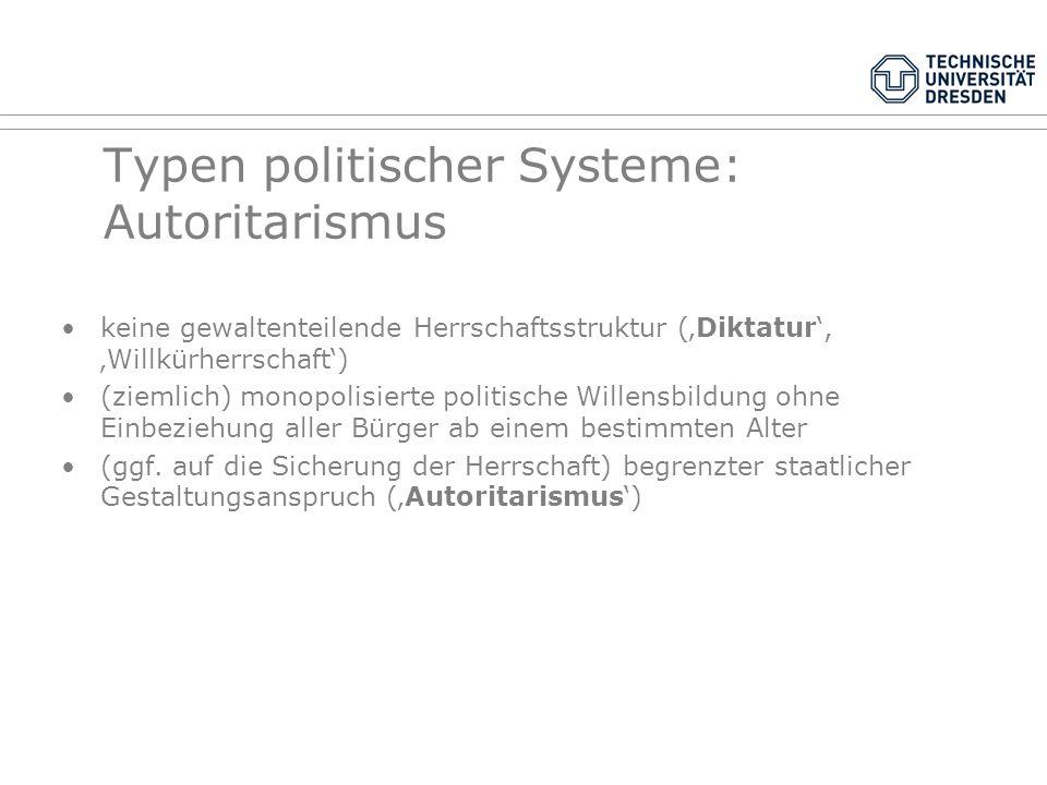 Typen politischer Systeme: Autoritarismus