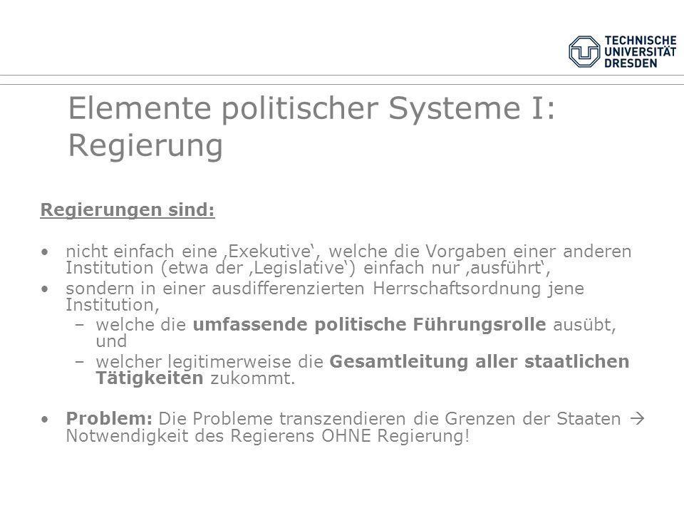 Elemente politischer Systeme I: Regierung