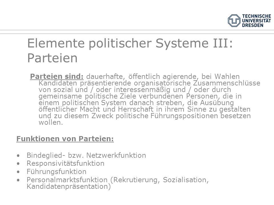 Elemente politischer Systeme III: Parteien