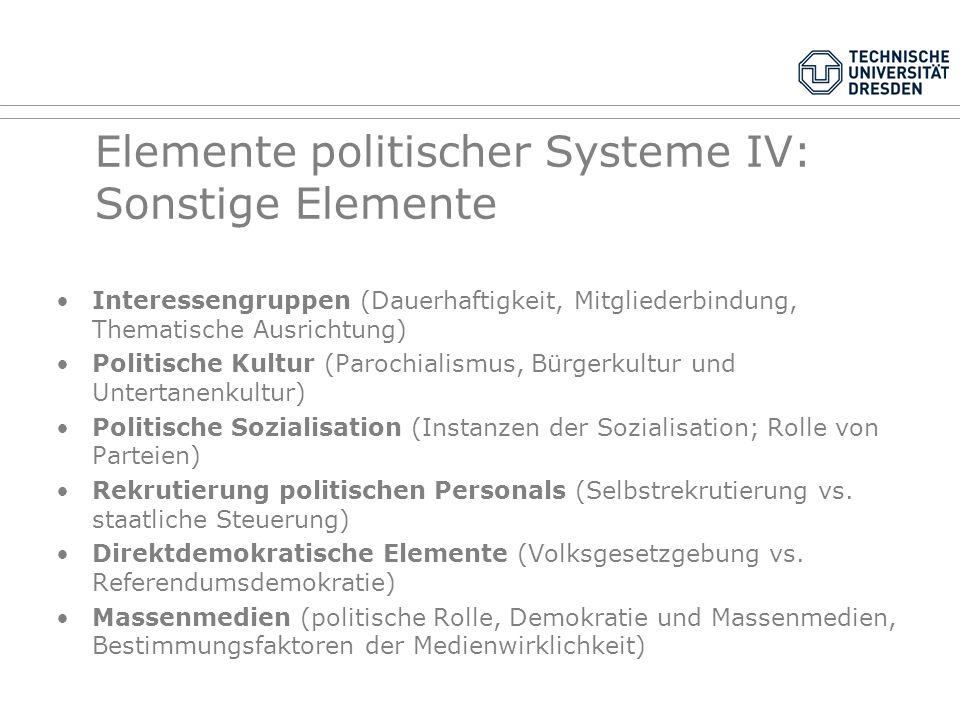 Elemente politischer Systeme IV: Sonstige Elemente