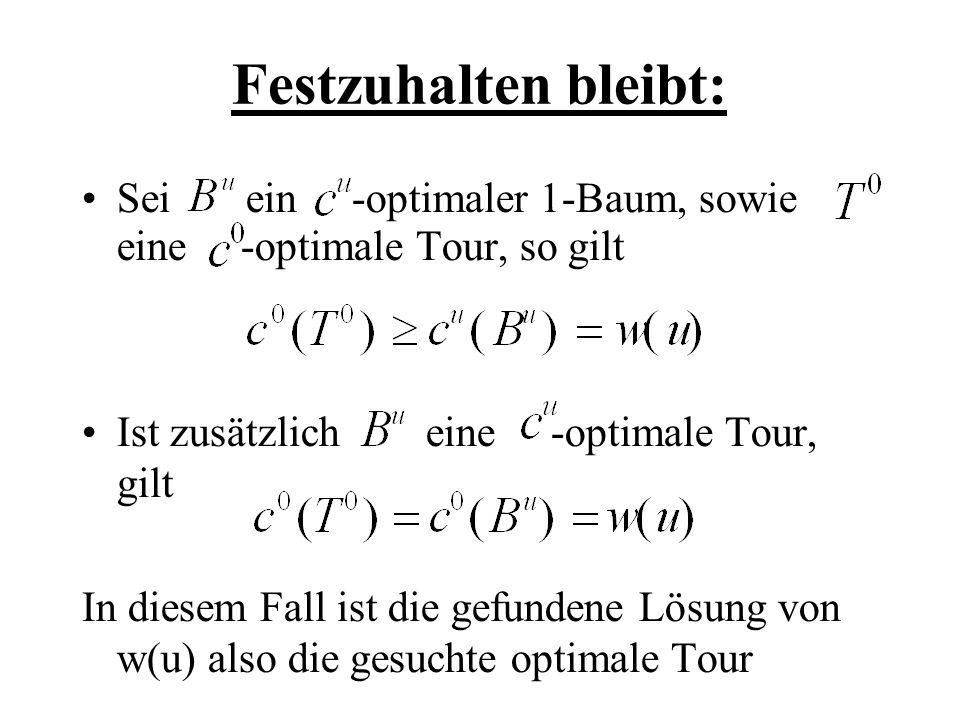 Festzuhalten bleibt: Sei ein -optimaler 1-Baum, sowie eine -optimale Tour, so gilt.