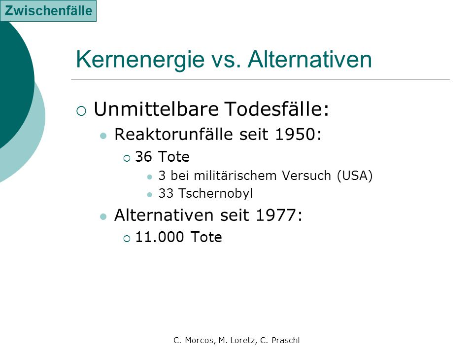 Kernenergie vs. Alternativen