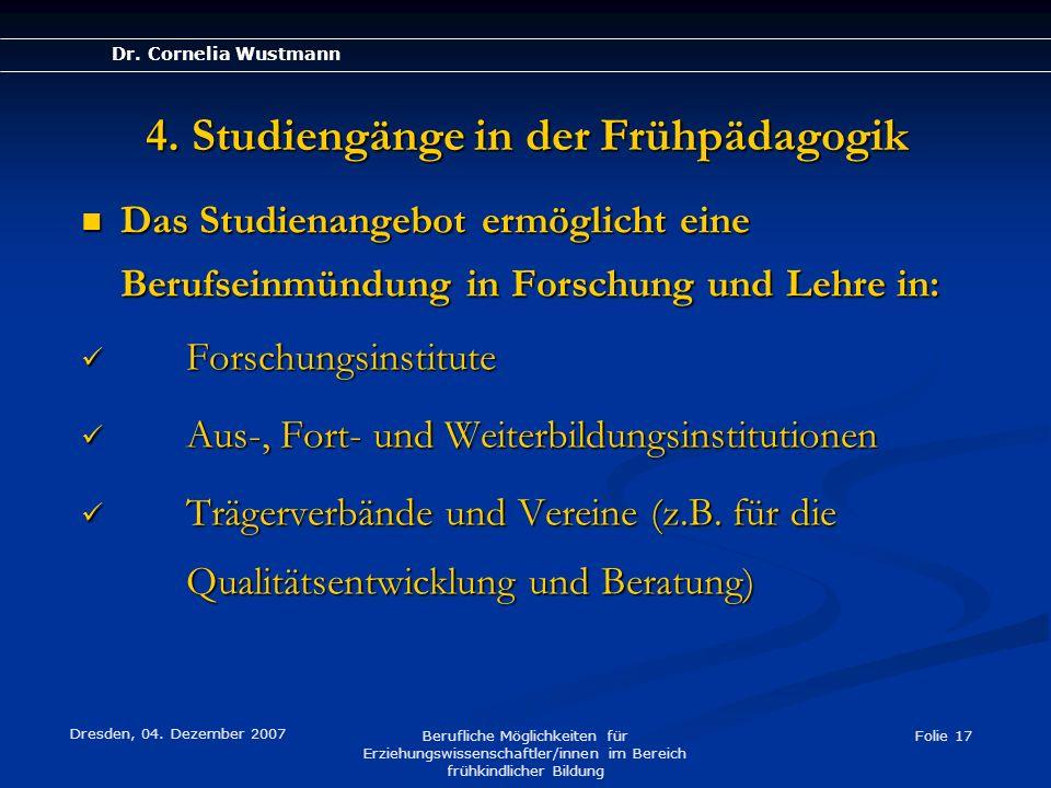 4. Studiengänge in der Frühpädagogik