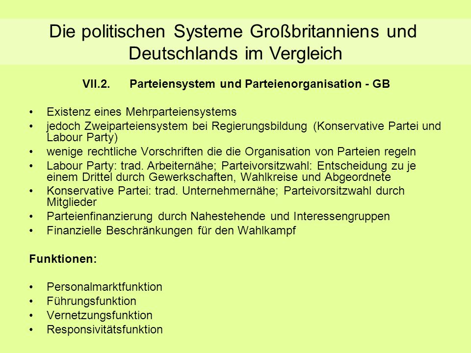 Parteiensystem und Parteienorganisation - GB