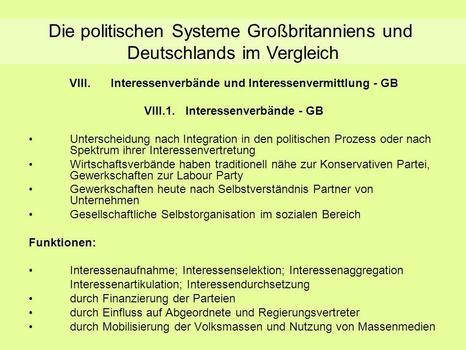 Interessengruppen und Interessenvermittlung - GB