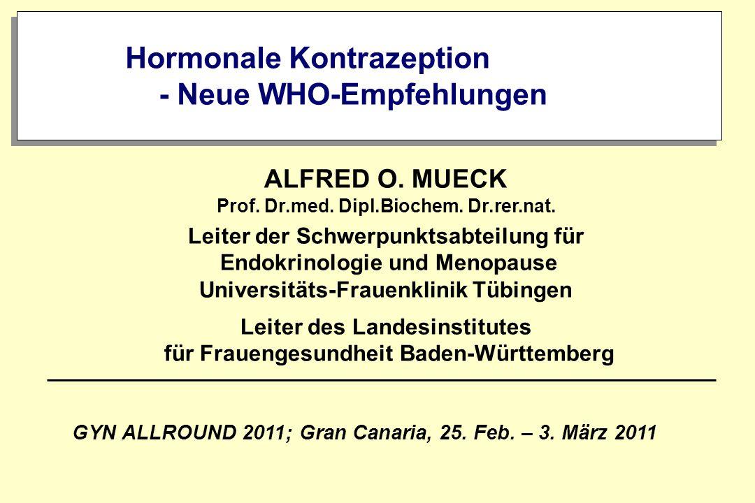 Hormonale Kontrazeption - Neue WHO-Empfehlungen