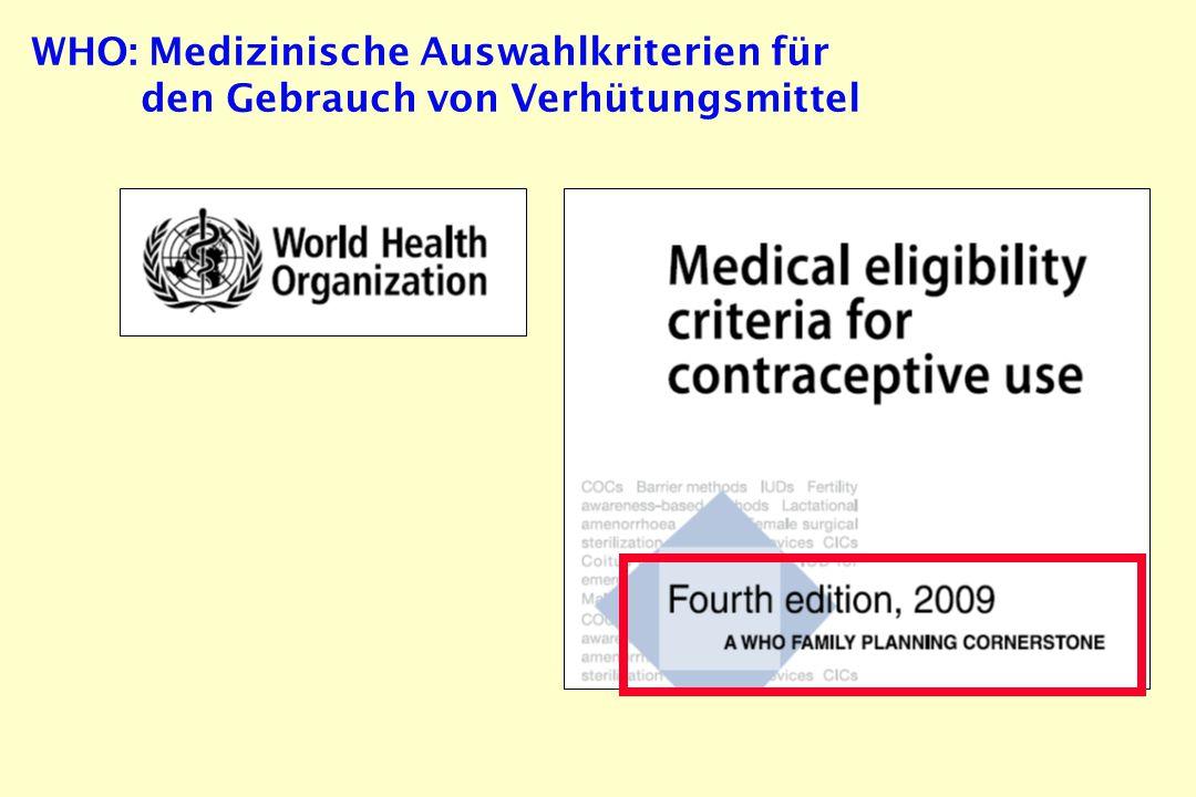 WHO: Medizinische Auswahlkriterien für den Gebrauch von Verhütungsmittel