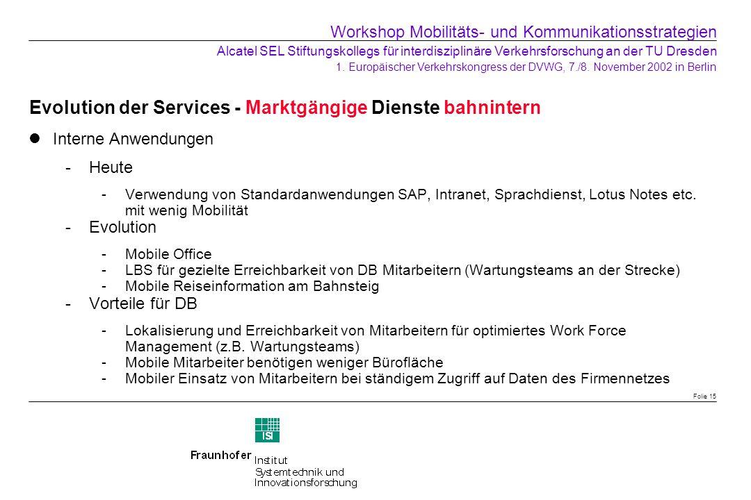 Evolution der Services - Marktgängige Dienste bahnintern