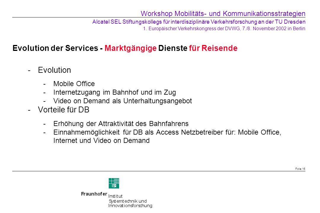 Evolution der Services - Marktgängige Dienste für Reisende