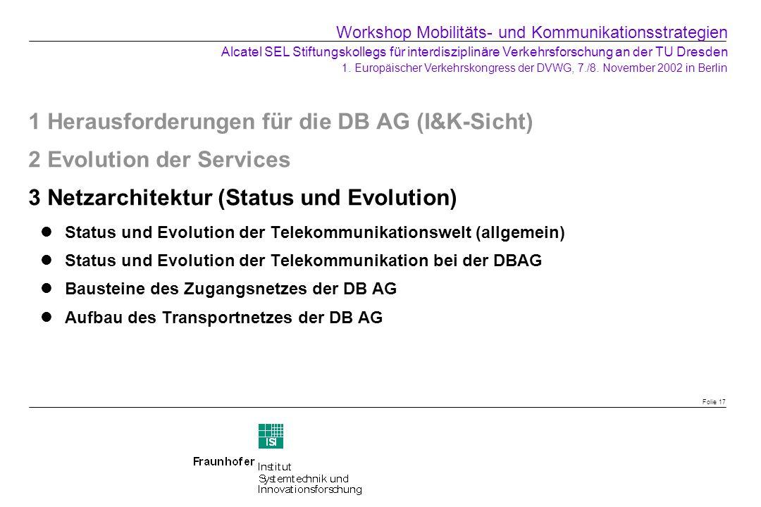 1 Herausforderungen für die DB AG (I&K-Sicht) 2 Evolution der Services