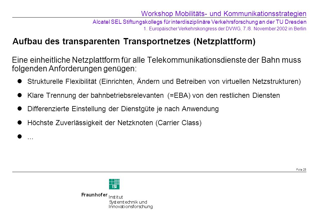 Aufbau des transparenten Transportnetzes (Netzplattform)