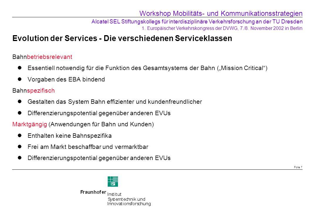 Evolution der Services - Die verschiedenen Serviceklassen