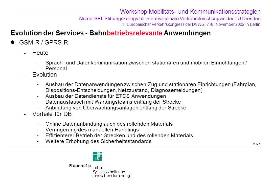 Evolution der Services - Bahnbetriebsrelevante Anwendungen