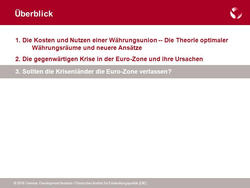 Überblick 1. Die Kosten und Nutzen einer Währungsunion -- Die Theorie optimaler Währungsräume und neuere Ansätze.