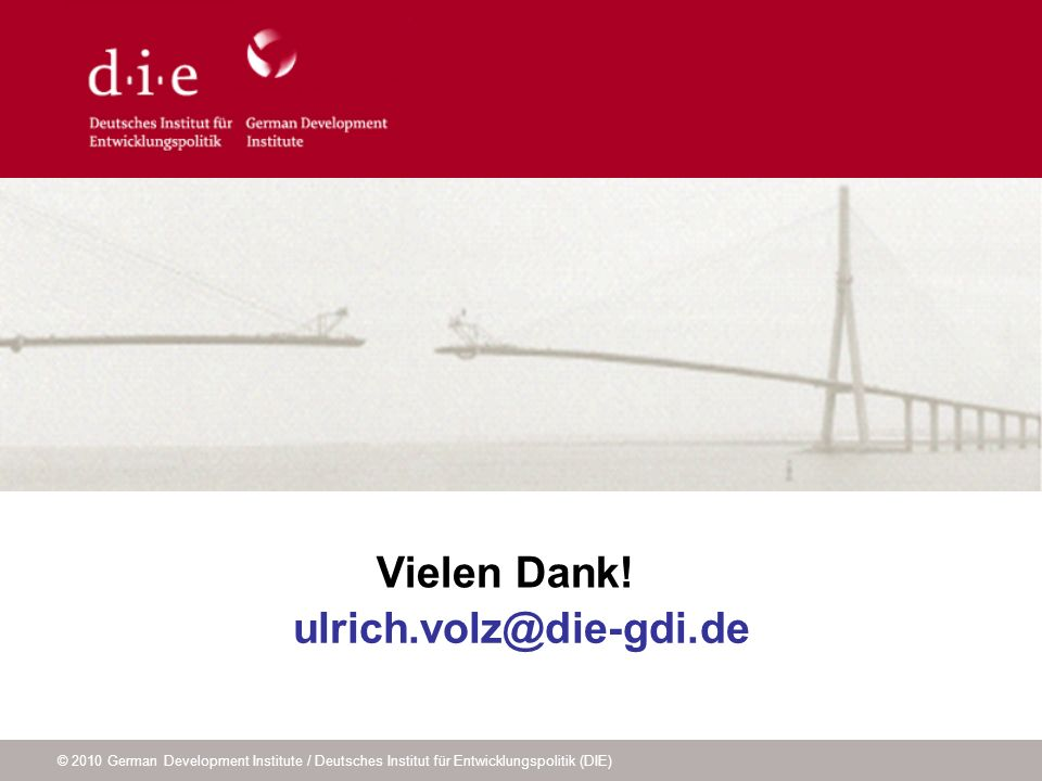 Vielen Dank! ulrich.volz@die-gdi.de