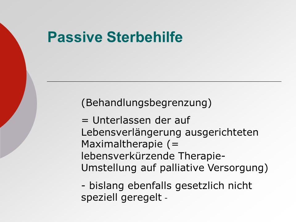 Passive Sterbehilfe (Behandlungsbegrenzung)