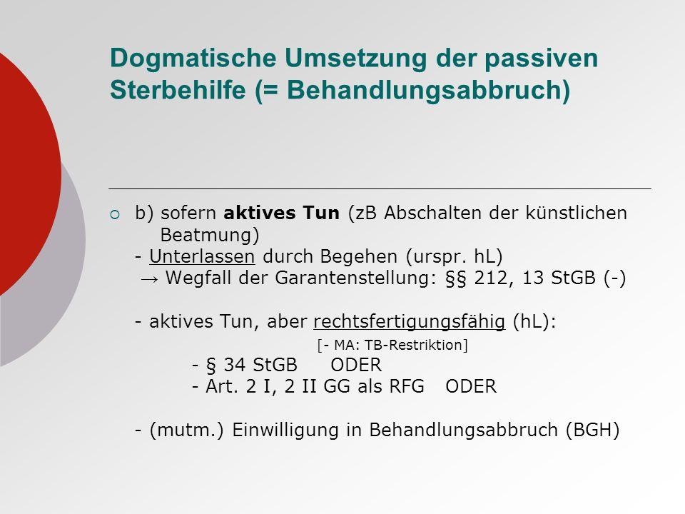 Dogmatische Umsetzung der passiven Sterbehilfe (= Behandlungsabbruch)