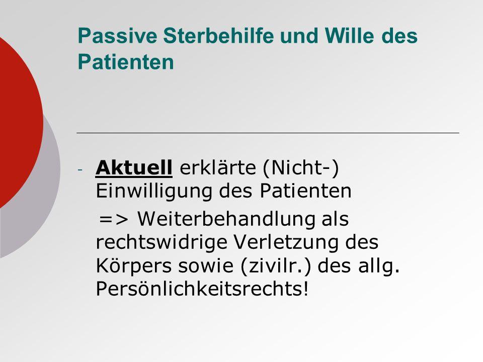 Passive Sterbehilfe und Wille des Patienten