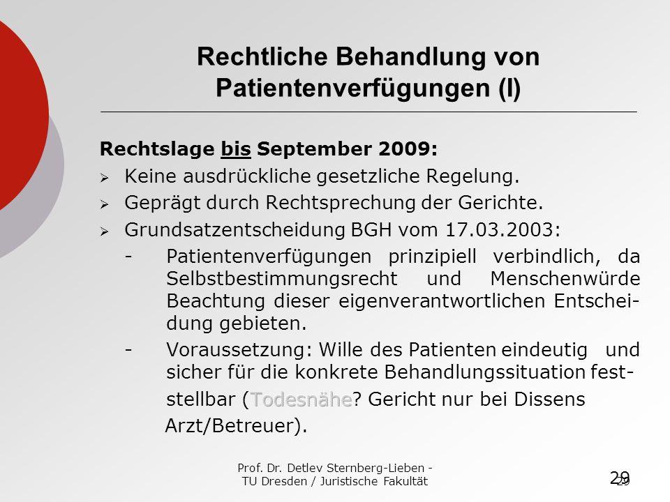 Rechtliche Behandlung von Patientenverfügungen (I)