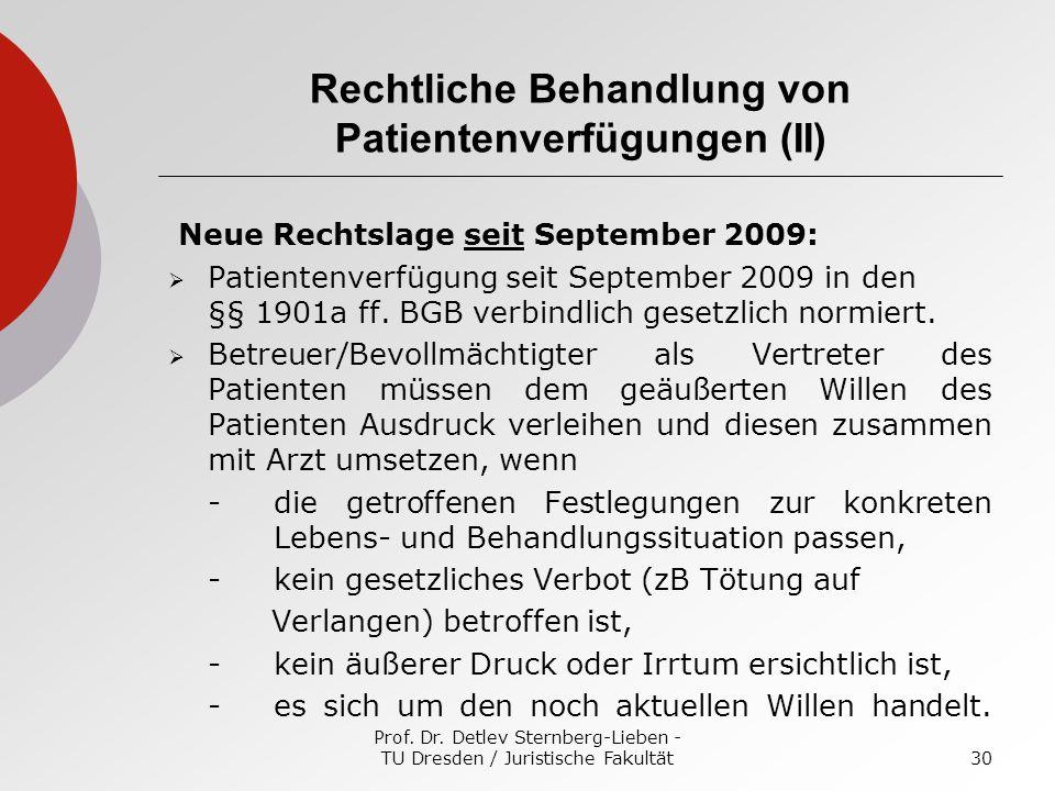 Rechtliche Behandlung von Patientenverfügungen (II)