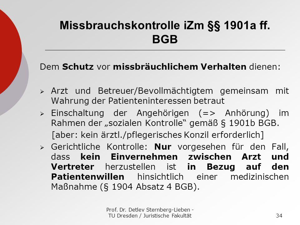 Missbrauchskontrolle iZm §§ 1901a ff. BGB