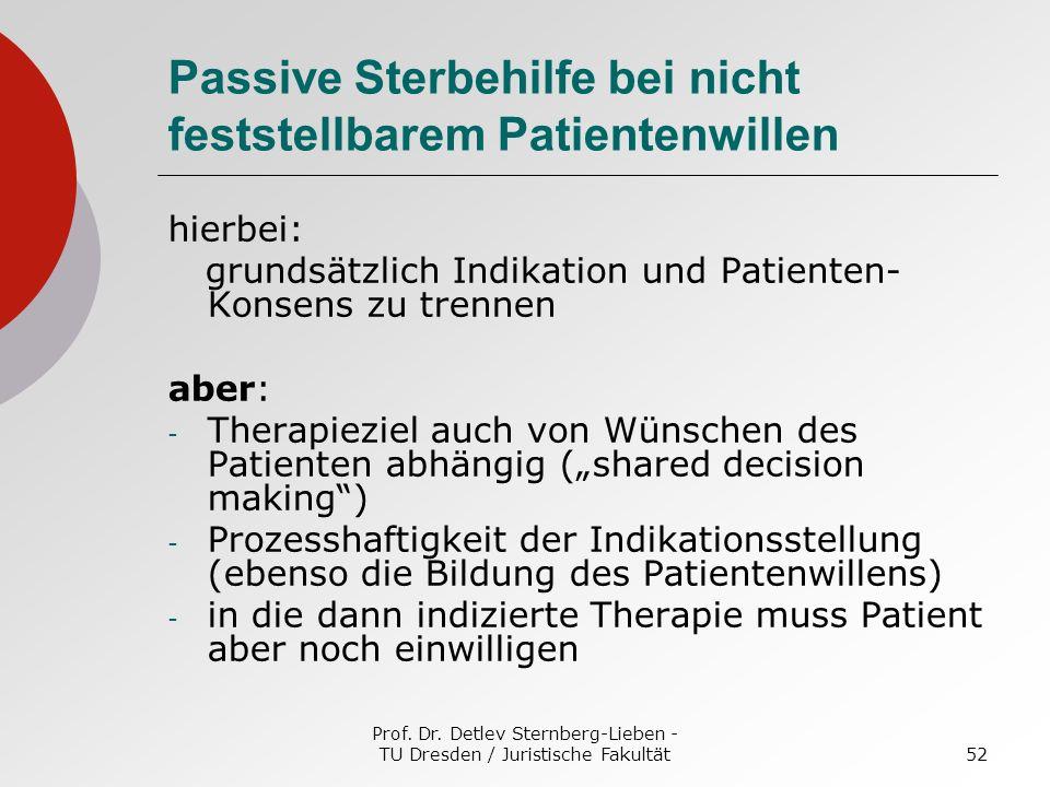 Passive Sterbehilfe bei nicht feststellbarem Patientenwillen
