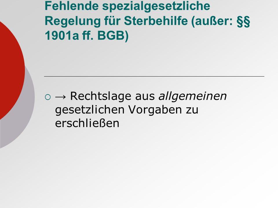 Fehlende spezialgesetzliche Regelung für Sterbehilfe (außer: §§ 1901a ff. BGB)
