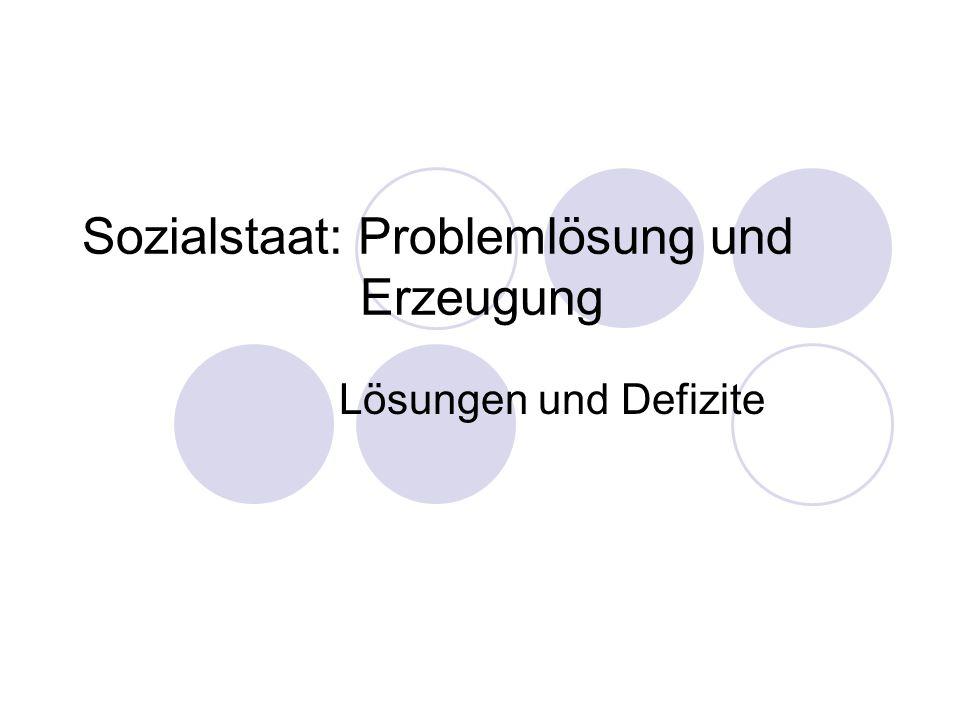Sozialstaat: Problemlösung und Erzeugung