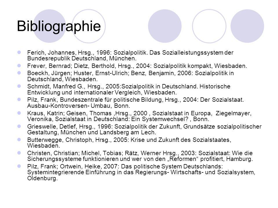 Bibliographie Ferich, Johannes, Hrsg., 1996: Sozialpolitik. Das Sozialleistungssystem der Bundesrepublik Deutschland, München.