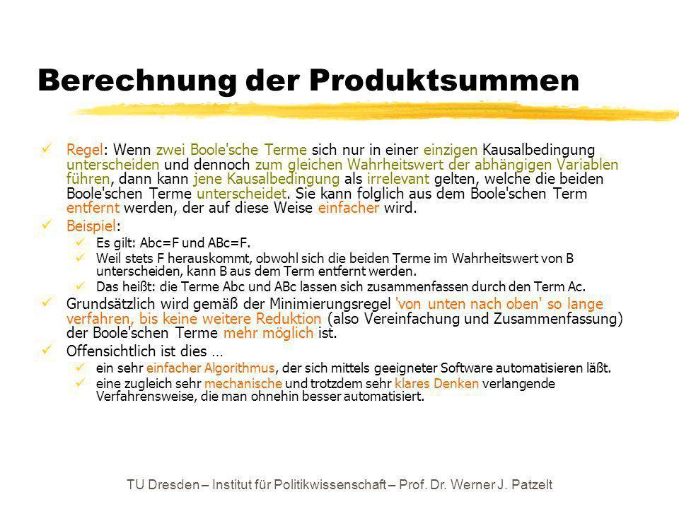 Berechnung der Produktsummen