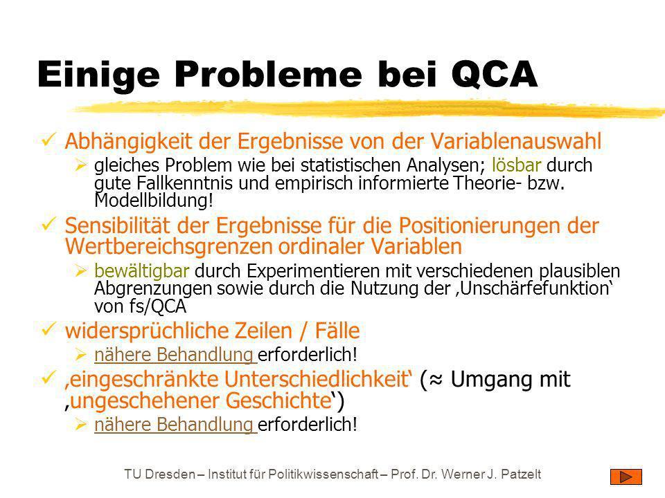 Einige Probleme bei QCA
