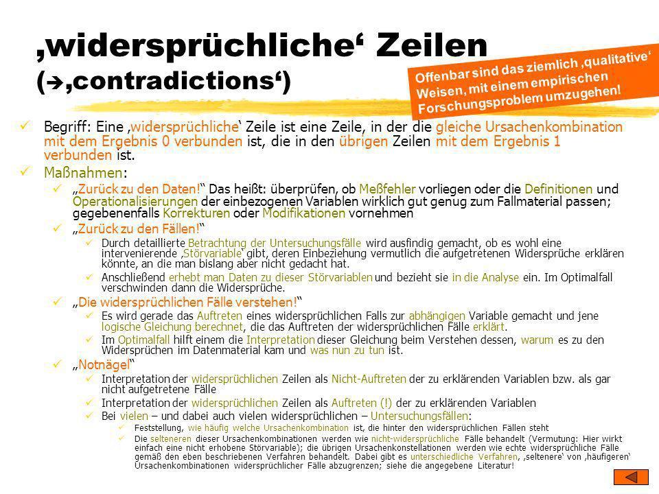 'widersprüchliche' Zeilen ('contradictions')