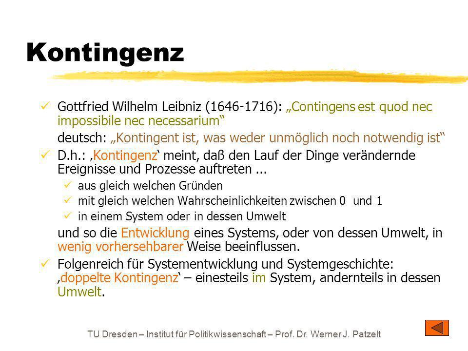 """Kontingenz Gottfried Wilhelm Leibniz (1646-1716): """"Contingens est quod nec impossibile nec necessarium"""