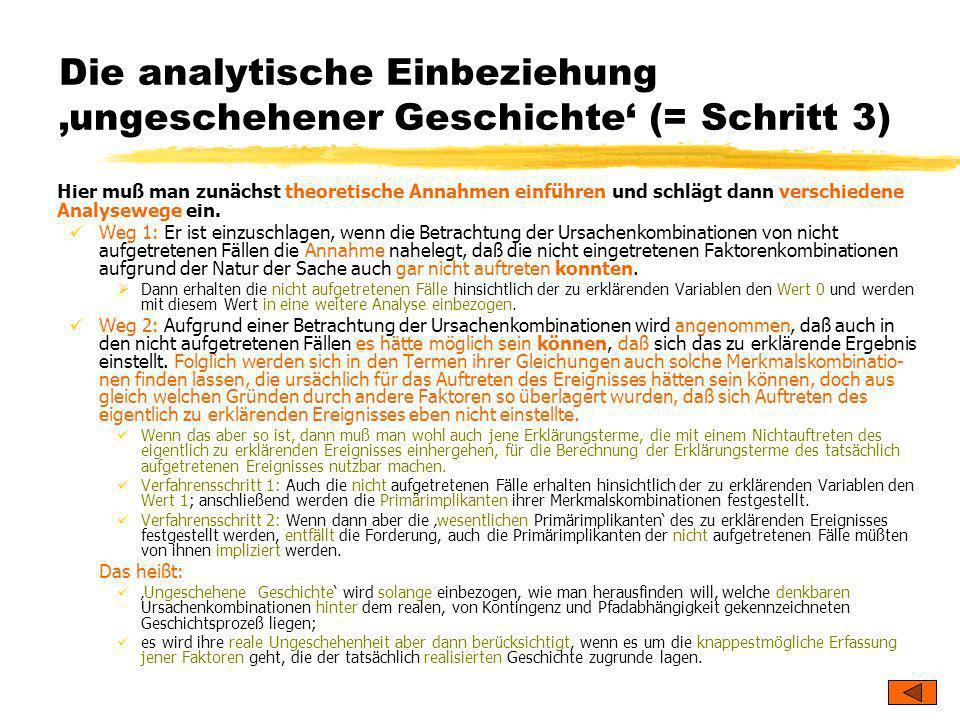 Die analytische Einbeziehung 'ungeschehener Geschichte' (= Schritt 3)