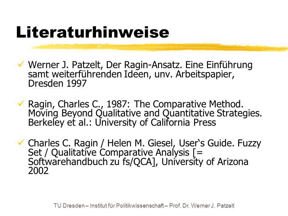 Literaturhinweise Werner J. Patzelt, Der Ragin-Ansatz. Eine Einführung samt weiterführenden Ideen, unv. Arbeitspapier, Dresden 1997.