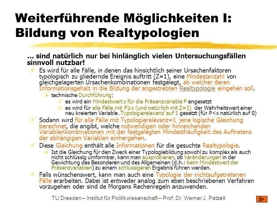 Weiterführende Möglichkeiten I: Bildung von Realtypologien