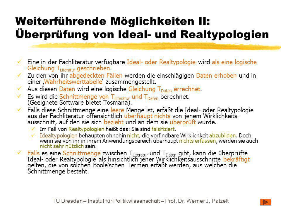 Weiterführende Möglichkeiten II: Überprüfung von Ideal- und Realtypologien