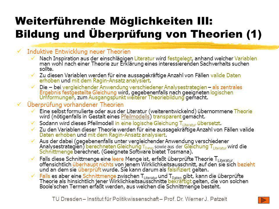 Weiterführende Möglichkeiten III: Bildung und Überprüfung von Theorien (1)