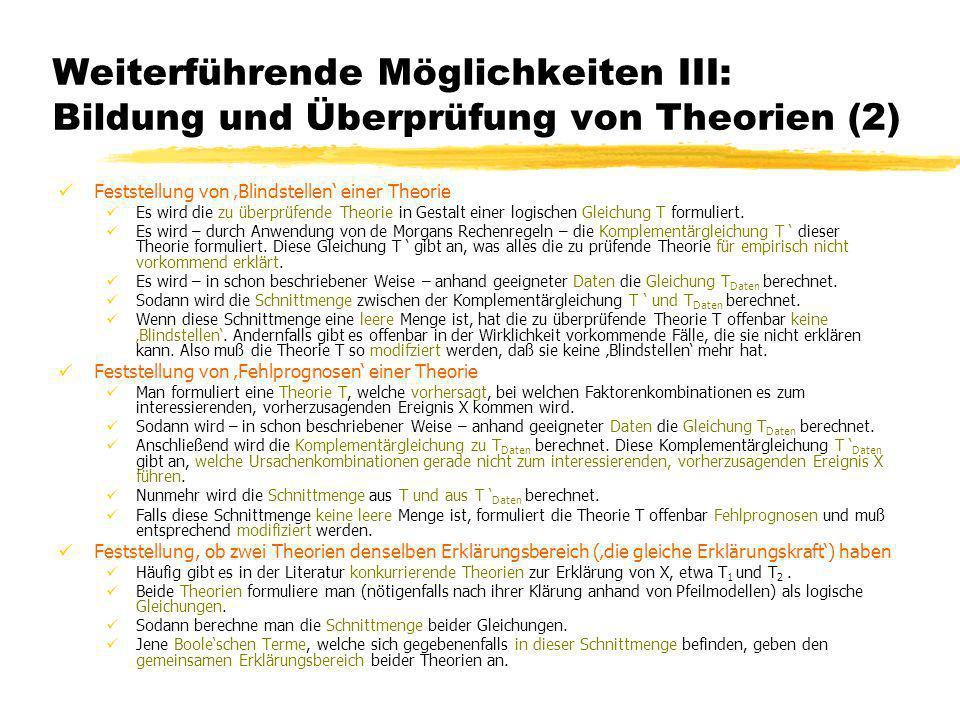 Weiterführende Möglichkeiten III: Bildung und Überprüfung von Theorien (2)