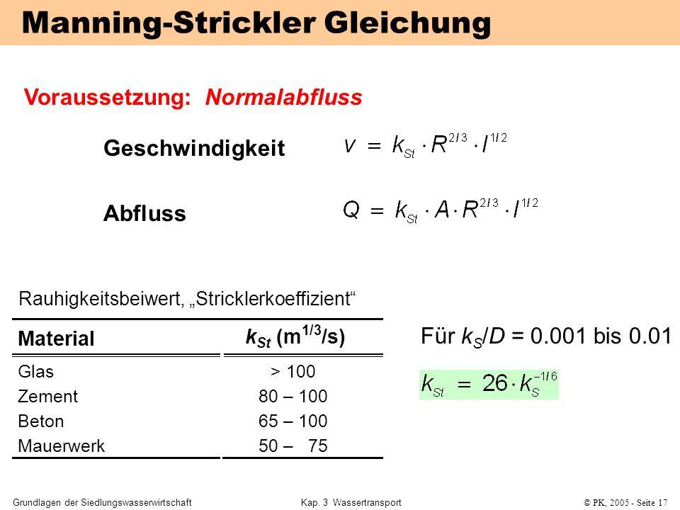Manning-Strickler Gleichung