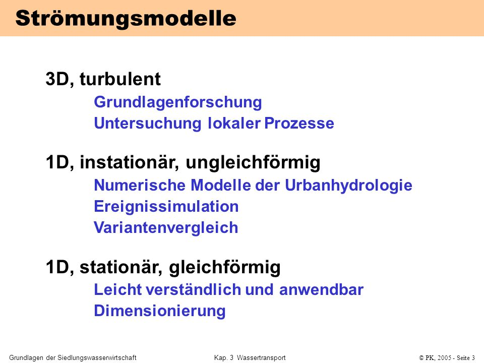 Strömungsmodelle 3D, turbulent 1D, instationär, ungleichförmig