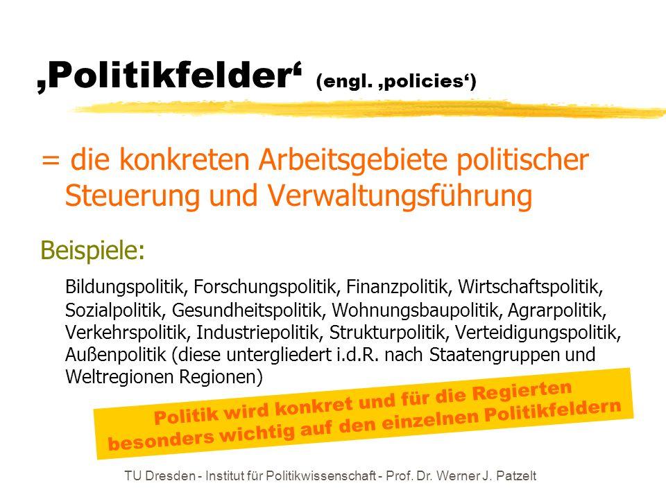 'Politikfelder' (engl. 'policies')