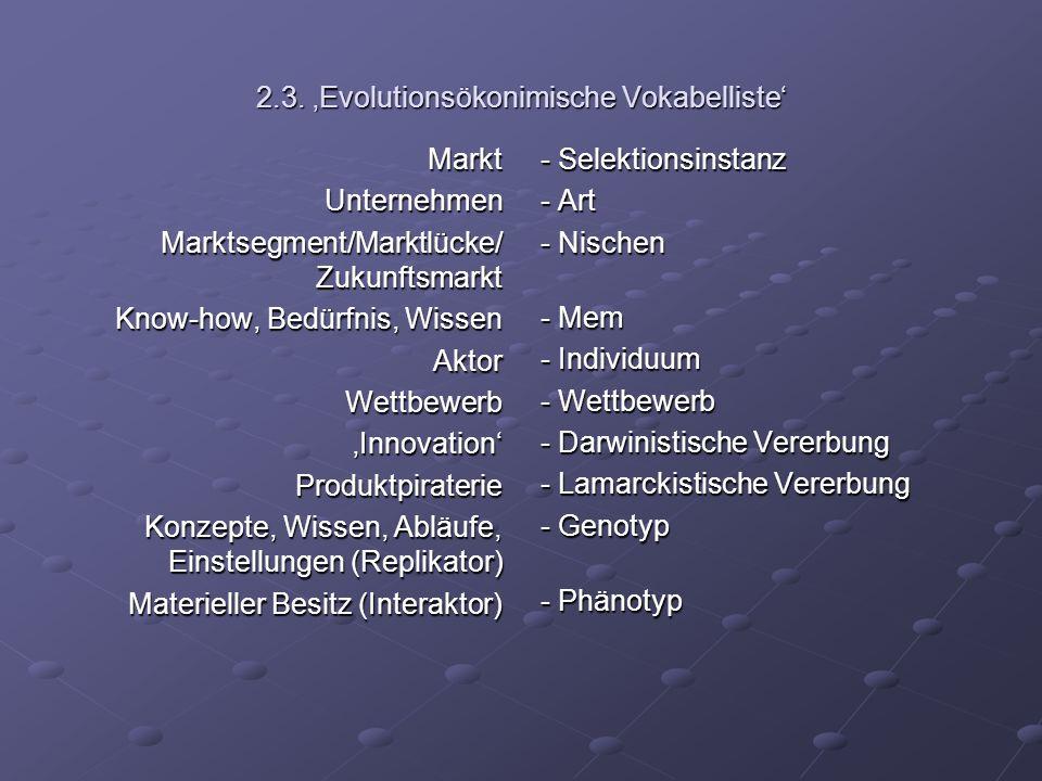 2.3. 'Evolutionsökonimische Vokabelliste'