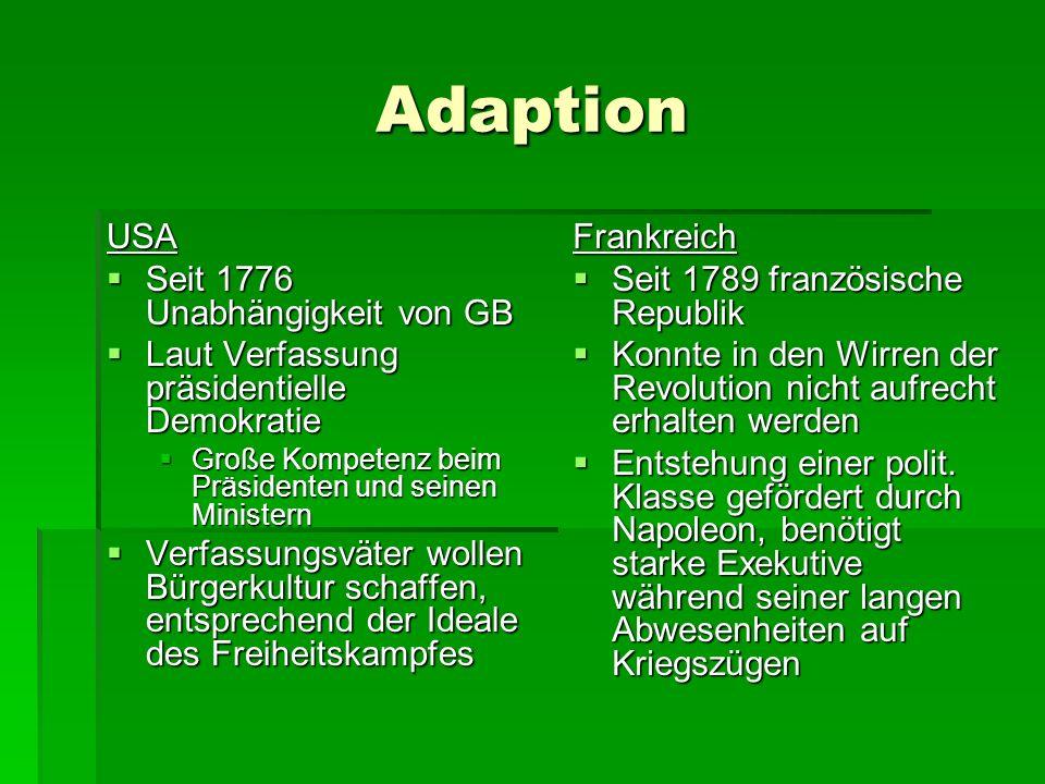 Adaption USA Seit 1776 Unabhängigkeit von GB
