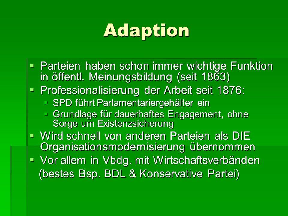 Adaption Parteien haben schon immer wichtige Funktion in öffentl. Meinungsbildung (seit 1863) Professionalisierung der Arbeit seit 1876: